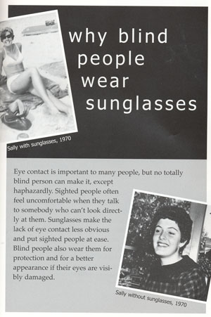 This is a page from my book answering the question, 'Why Blind People Wear Sunglasses.'