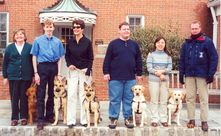 Here I am with Handley among my Seeing Eye classmates, their guide dogs and our instructor, Australian Peter Tomlins, January 2001