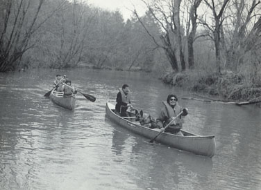 This is me canoing with my family. Bob, Marit, and I are in one canoe while Joel and Leslie are in another.