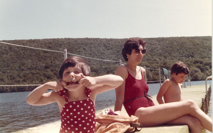 Here I am sitting on the pier of Greenwood Lake, the inspiration for Maggie's Whopper.  Beside me are Joel, about 9, and Leslie, 6.