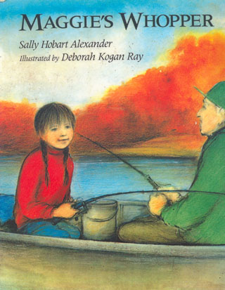 The cover illustration shows a young girl with braids fishing in a boat with an elderly man on a blue lake with orange and brightly-colored leaves on trees all around.